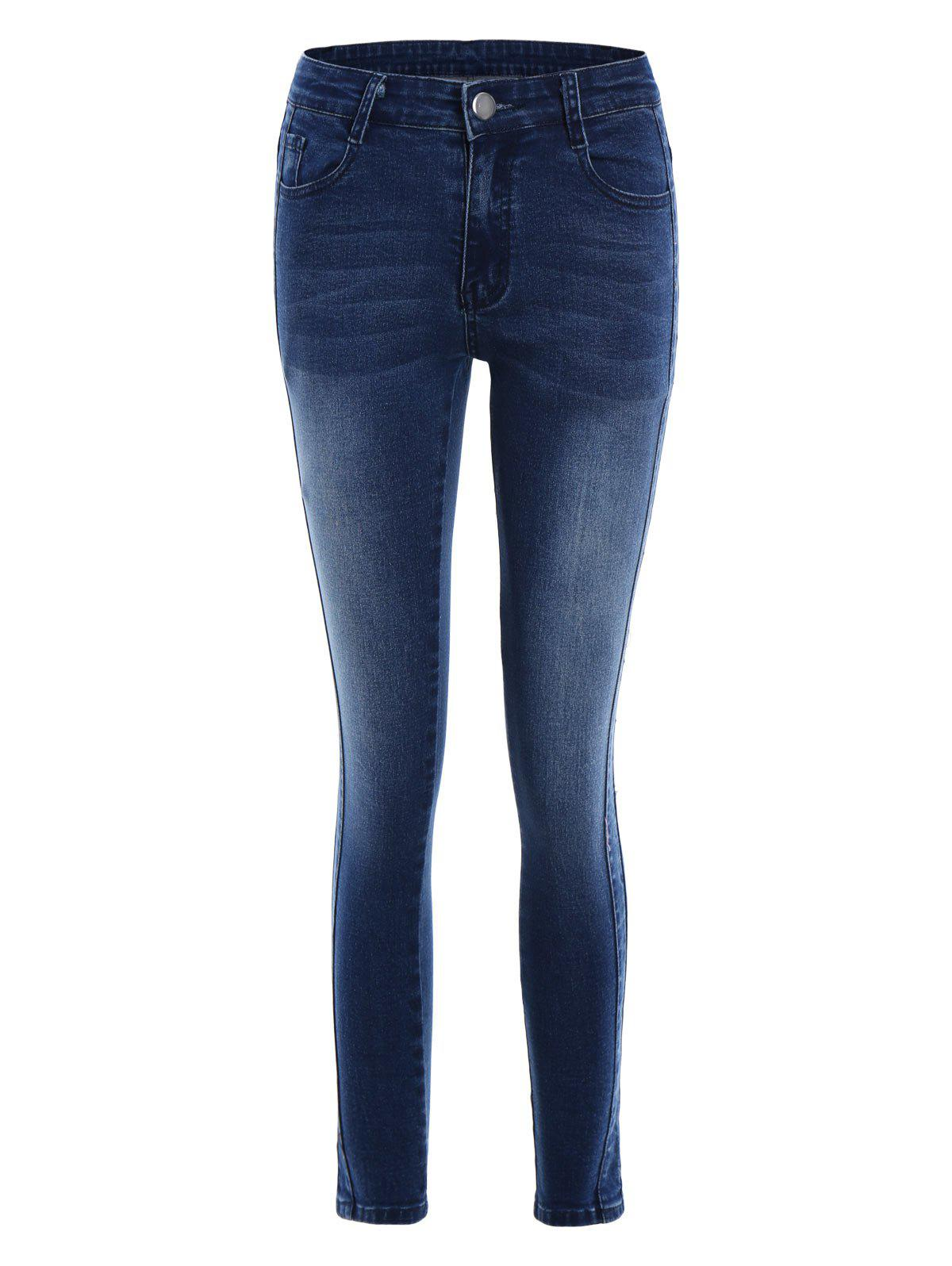 Pockets Fitted Pencil Jeans - DEEP BLUE M