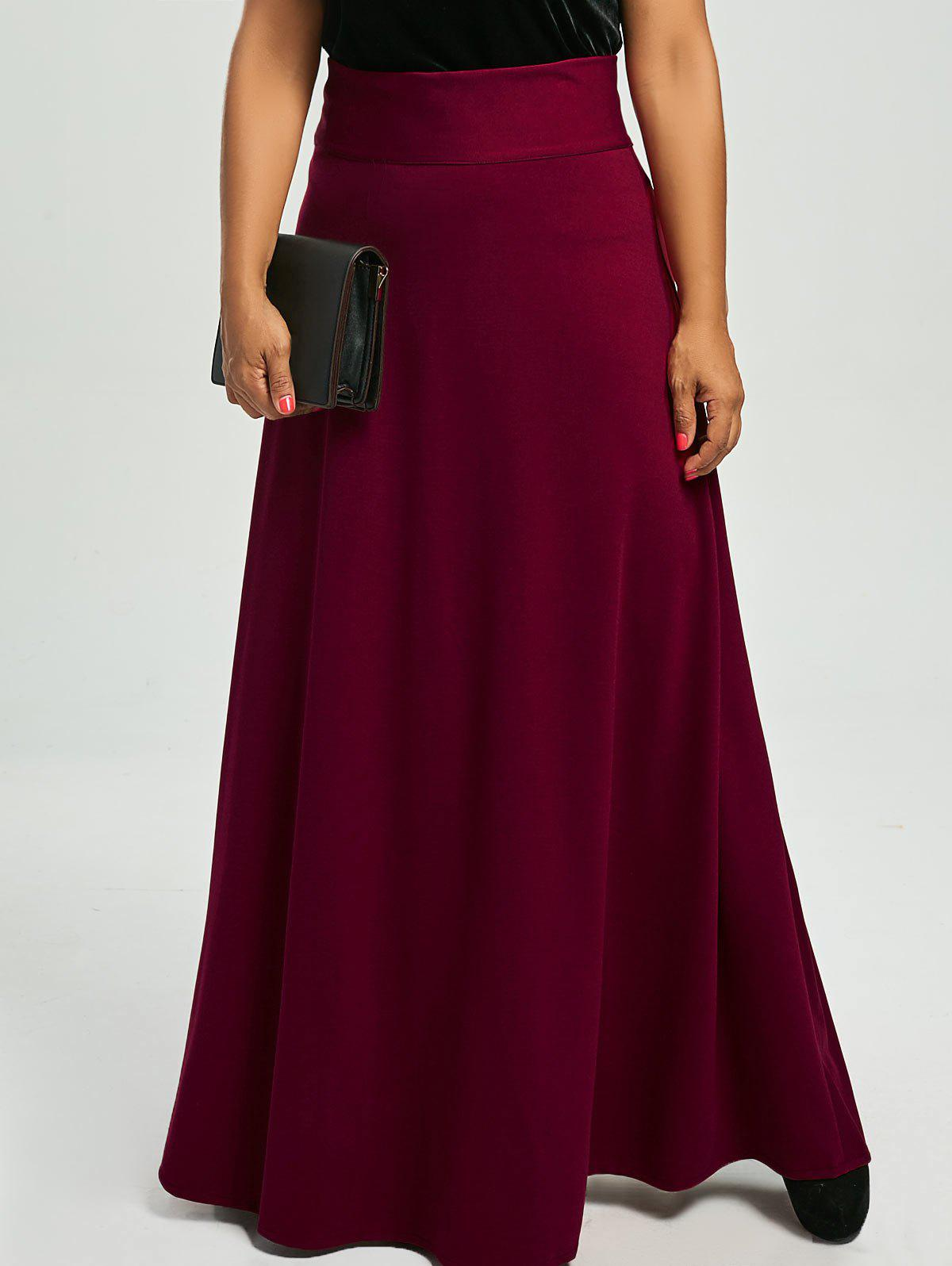 Plus Size High Waist Maxi Flare Skirts - WINE RED 5XL