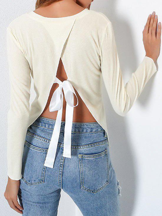 Backless Bowknot Tie Split Back Blouse - BEIGE M