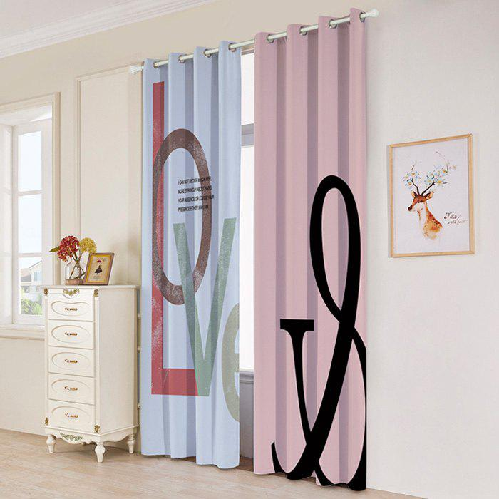 2 Panels Love Print Blackout Window Curtains - multicolorcolore W53 INCH * L84.5 INCH