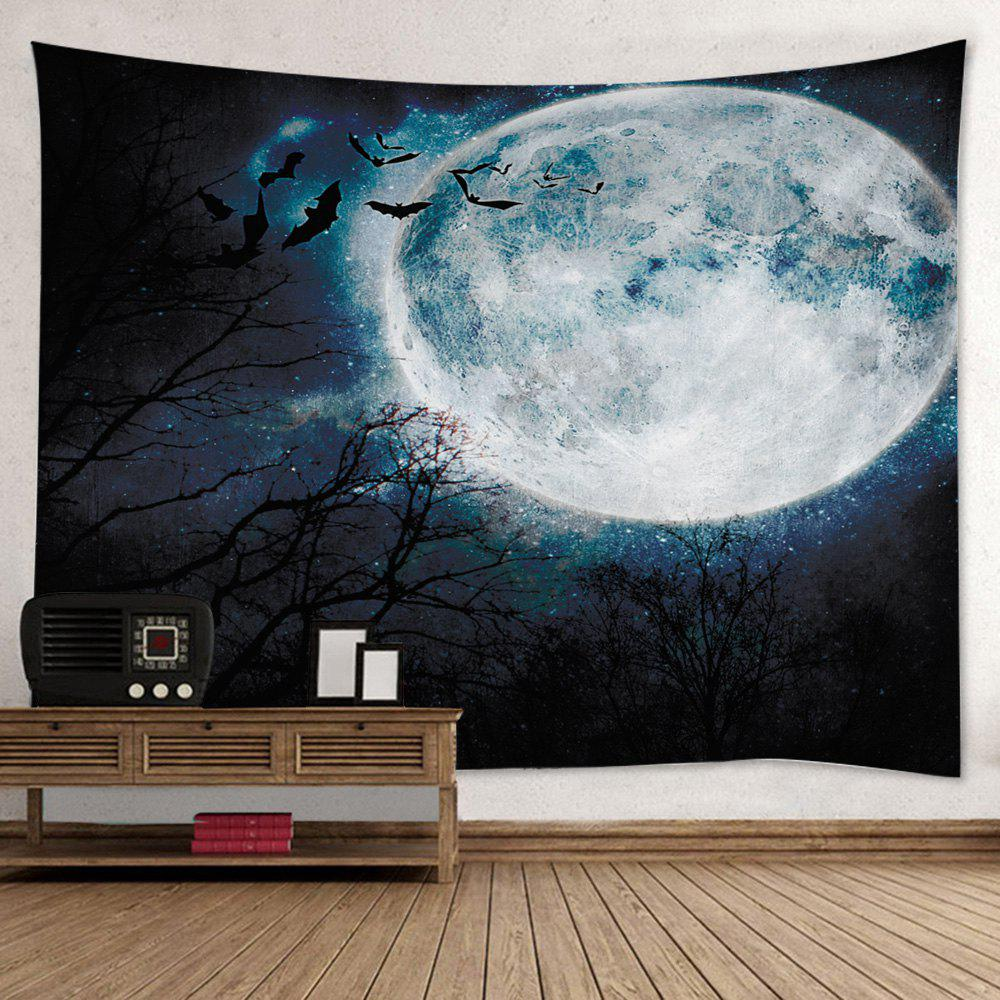 Wall Hanging Art Halloween Moon Forest Print Tapestry - BLACK W59 INCH * L51 INCH