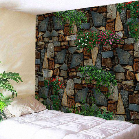 Floral Stone Wall Print Polyester Fabric Tapestry - COLORMIX W59 INCH * L79 INCH