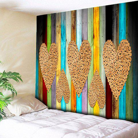 Wood Grain Heart Printed Wall Hanging Tapestry - WOOD COLOR W59 INCH * L51 INCH
