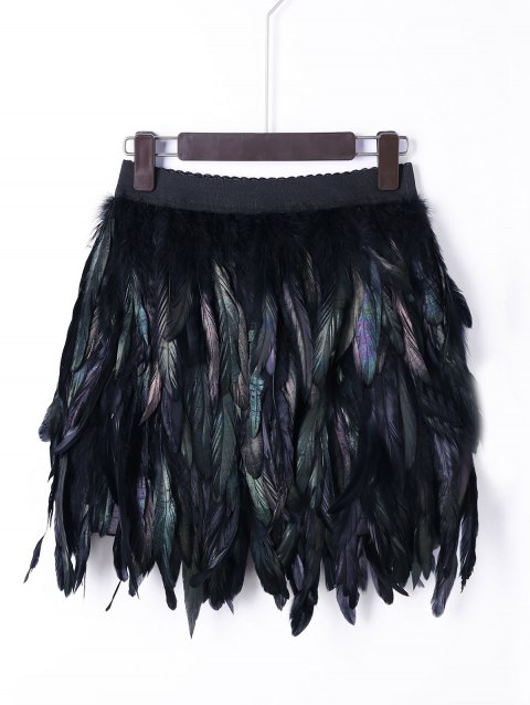 Halloween Elastic Waist Feather Skirt - BLACK XL