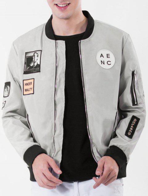 Rib Stand Collar Pocket Graphic Appliques Zip Up Jacket - GRAY 3XL