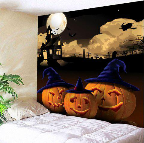 Halloween Night Moon Pumpkin Waterproof Wall Tapestry - GRAY W59 INCH * L51 INCH