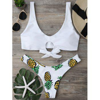 Pineapple Print Thong Bottom Bikini Set