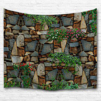 Floral Stone Wall Print Polyester Fabric Tapestry - COLORMIX W51 INCH * L59 INCH