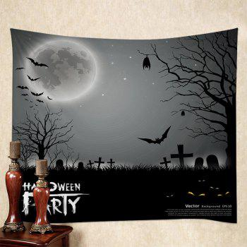 Wall Hanging Art Halloween Cemetery Print Tapestry - GRAY W59 INCH * L51 INCH