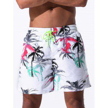 Coconut Palm Print Drawstring Board Shorts - COLORMIX COLORMIX