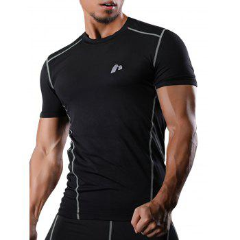 Short Sleeve Quick Dry Suture Stretchy Gym T-shirt