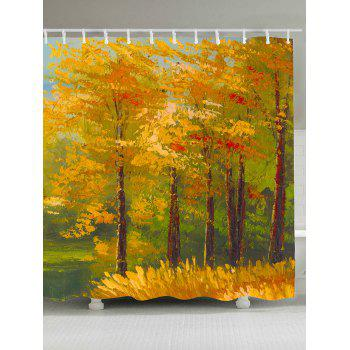 Waterproof Oil Painting Maple Trees Shower Curtain
