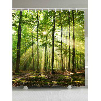 Waterproof Sunlight Forest Tree Shower Curtain