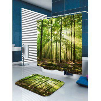 Waterproof Sunlight Forest Tree Shower Curtain - GREEN W71 INCH * L79 INCH