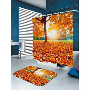 Waterproof Sunlight Maple Tree Leaf Shower Curtain - ORANGE W71 INCH * L79 INCH