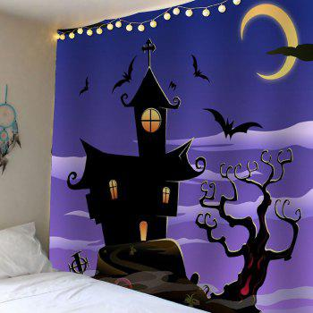 Waterproof Halloween Night Town with Batwing Tapestry - LIGHT PURPLE W79 INCH * L59 INCH