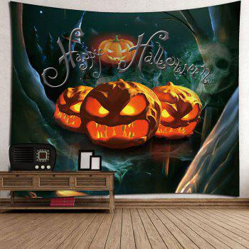 Halloween Pumpkin Night Forest Waterproof Tapestry - COLORFUL W59 INCH * L51 INCH