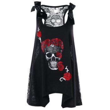 Plus Size Skull Floral Handkerchief Lace Panel Top