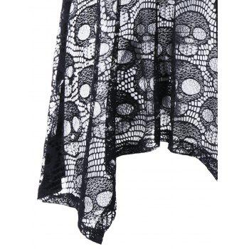 Plus Size Skull Floral Handkerchief Lace Panel Top - BLACK XL