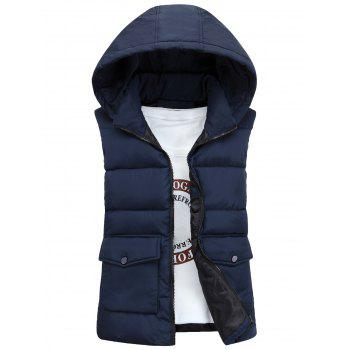 Pockets Detachable Hooded Padded Waistcoat - CADETBLUE XL