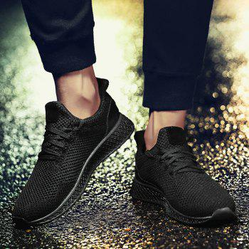Mesh Lace Up Breathable Athletic Shoes - BLACK 40