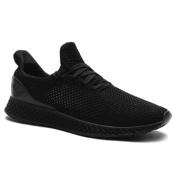 Mesh Lace Up Breathable Athletic Shoes - BLACK BLACK