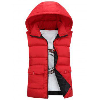 Pockets Detachable Hooded Padded Waistcoat - RED L