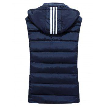Stripe Detachable Hooded Padded Waistcoat - L L
