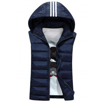 Stripe Detachable Hooded Padded Waistcoat - CADETBLUE L
