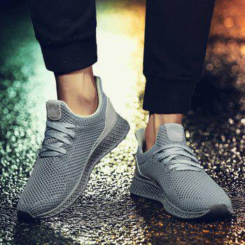 Mesh Lace Up Breathable Athletic Shoes - GRAY 40