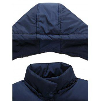 Detachable Hooded Snaps Zip Up Padded Waistcoat - CADETBLUE CADETBLUE
