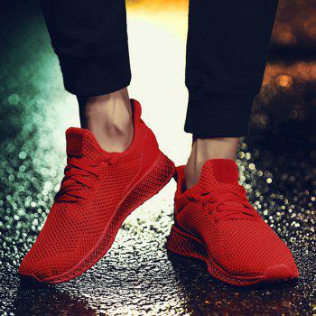 Mesh Lace Up Breathable Athletic Shoes - RED 40
