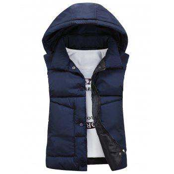 Detachable Hooded Snaps Zip Up Padded Waistcoat - CADETBLUE L