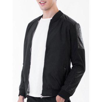 PU Leather Panel Rib Stand Collar Zip Up Jacket - BLACK L