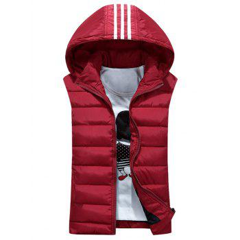 Stripe Detachable Hooded Padded Waistcoat - RED 3XL