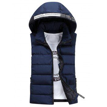 Detachable Hooded Graphic Embellished Padded Waistcoat - CADETBLUE L