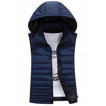 Detachable Hooded Padded Zip Up Waistcoat - CADETBLUE XL
