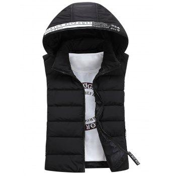 Detachable Hooded Graphic Embellished Padded Waistcoat - BLACK L