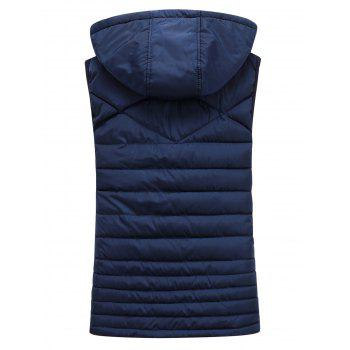Detachable Hooded Padded Zip Up Waistcoat - CADETBLUE 3XL