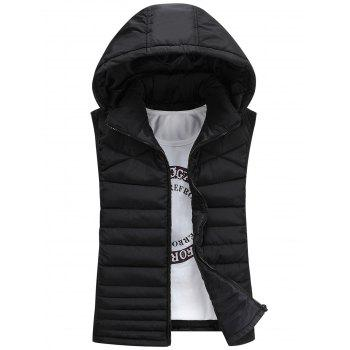Detachable Hooded Padded Zip Up Waistcoat - BLACK 3XL