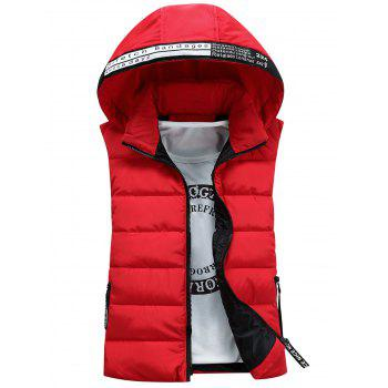 Detachable Hooded Graphic Embellished Padded Waistcoat - RED L