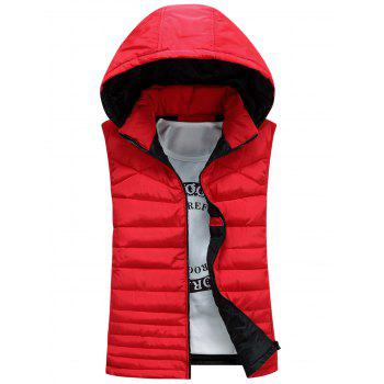 Detachable Hooded Padded Zip Up Waistcoat - RED 2XL