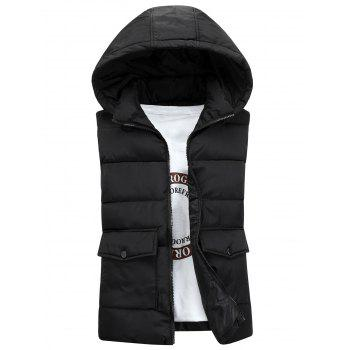 Pockets Detachable Hooded Padded Waistcoat - BLACK BLACK