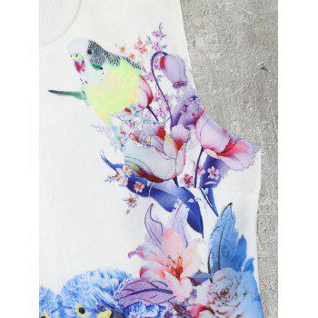 Bird Floral Print Mini Flared Dress - WHITE M