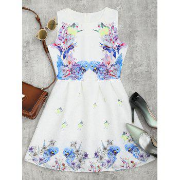 Bird Floral Print Mini Flared Dress