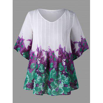Plus Size Pintuck Leaf Print Blouse