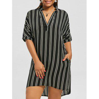 Plus Size High Low Stripe Shirt Dress