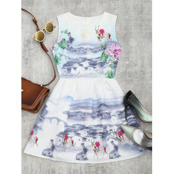 Sleeveless Printed A Line Mini Dress - WHITE L