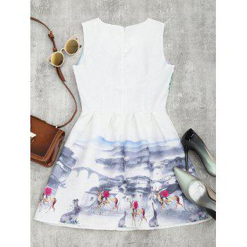 Sleeveless Printed A Line Mini Dress - L L