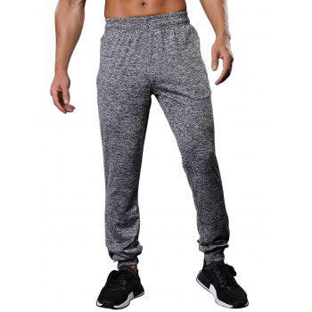 Drawstring Zipper Pockets Beam Feet Stretchy Gym Pants